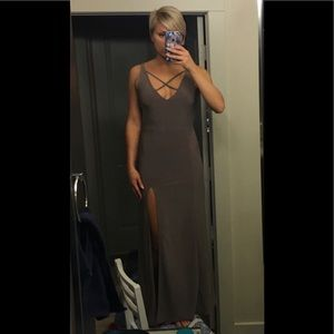 Sexy, Long, Taupe colored Dress with a slit!